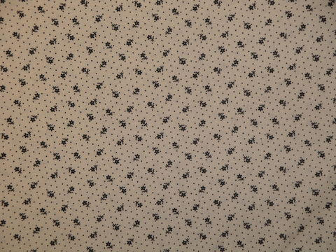 Remember,When,Civil,War,Reproduction,Cream,Cotton,Calico,Fabric,With,Small,Black,Dot,Flower,Design,remember _when_choice_fabrics_black_flower_shirting_sewing_fabric_civil_war_reproduction