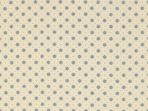 Remember,When,1800's,Civil,War,Reproduction,Cream,Cotton,Calico,Quilting,Shirting,Fabric,With,Small,Blue,Design,remember _when_choice_fabrics_blue_dots_circle_shirting_sewing_fabric_civil_war_reproduction_calico