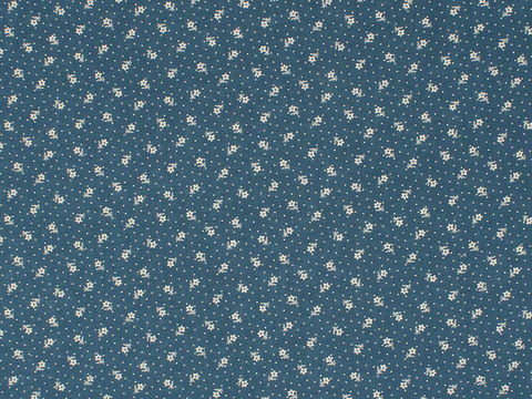 Remember,When,Civil,War,Reproduction,Blue,Cotton,Calico,Fabric,With,Small,Cream,Flower,And,Dot,Design,remember _when_choice_fabrics_blue_flower_shirting_sewing_fabric_civil_war_reproduction