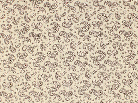 Remember,When,1800's,Civil,War,Reproduction,Cream,Cotton,Calico,Quilting,Shirting,Fabric,With,Brown,Paisley,Design,remember _when_choice_fabrics_brown_paisley_shirting_sewing_fabric_civil_war_reproduction_calico