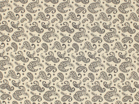 Remember,When,1800's,Civil,War,Reproduction,Cream,Cotton,Calico,Quilting,Shirting,Fabric,With,Black,Paisley,Design,remember _when_choice_fabrics_black_paisley_shirting_sewing_fabric_civil_war_reproduction_calico