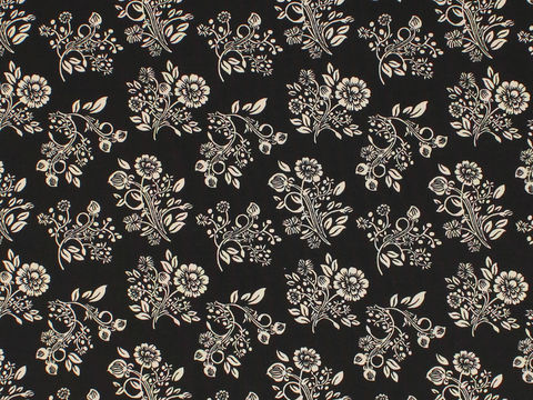 Remember,When,1800's,Civil,War,Reproduction,Black,With,Cream,Flower,Cotton,Quilting,Shirting,Fabric,BD-49731-A01_remember _when_choice_fabrics_black_flowers_shirting_sewing_fabric_civil_war_reproduction_calico