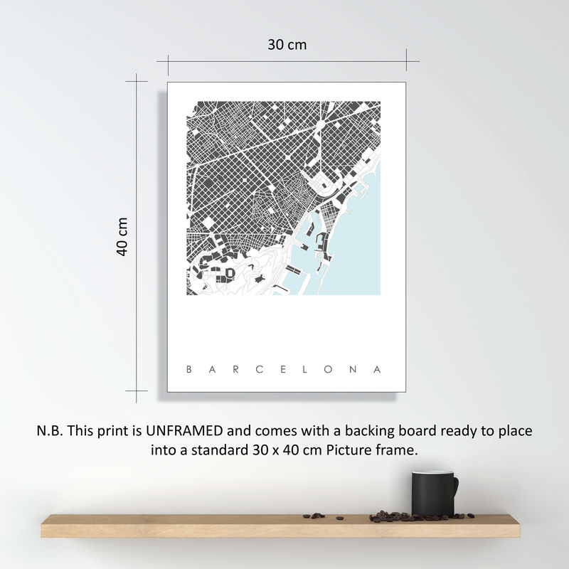 Barcelona Map Art Prints  LIMITED EDITION PRINTS - product images  of
