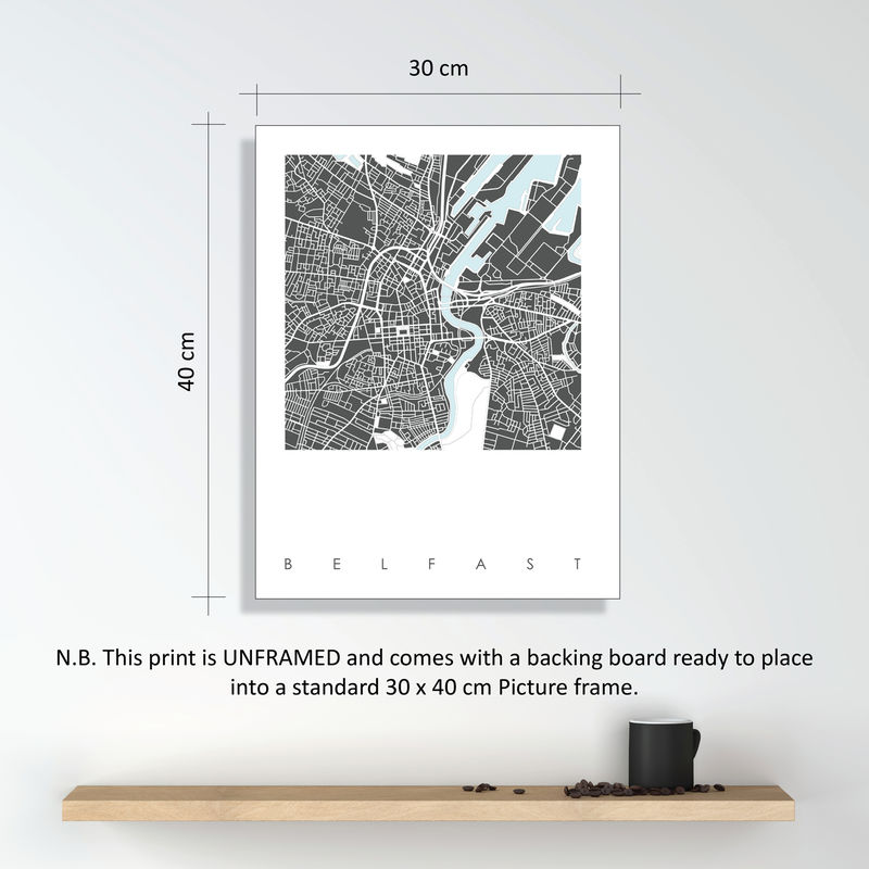 Belfast Map Art Print - LIMITED EDITION PRINTS - product images  of