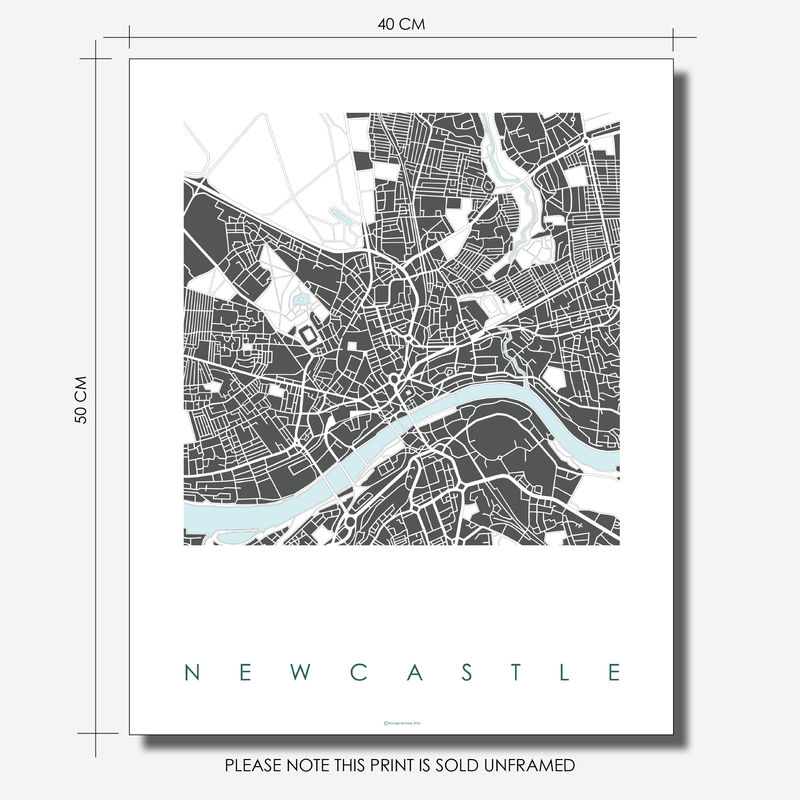 Newcastle Map Art Prints - LIMITED EDITION PRINTS - product images  of