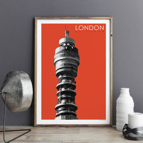 London,Print,-,BT,Tower,Travel,Prints,london prints, travel prints, art prints, city prints, BT Tower