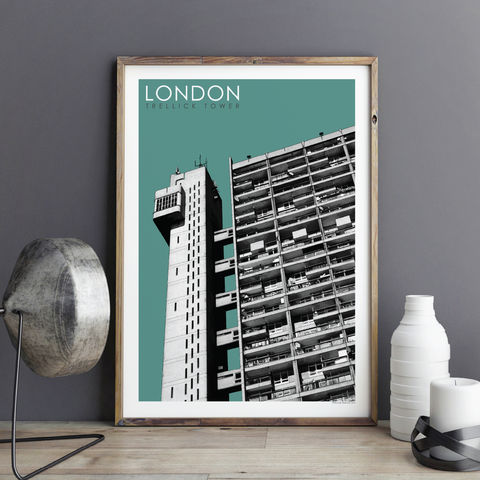 London,Prints,-,Trellick,Tower,No.2,London prints, London art prints, travel prints, city prints, trellick tower art