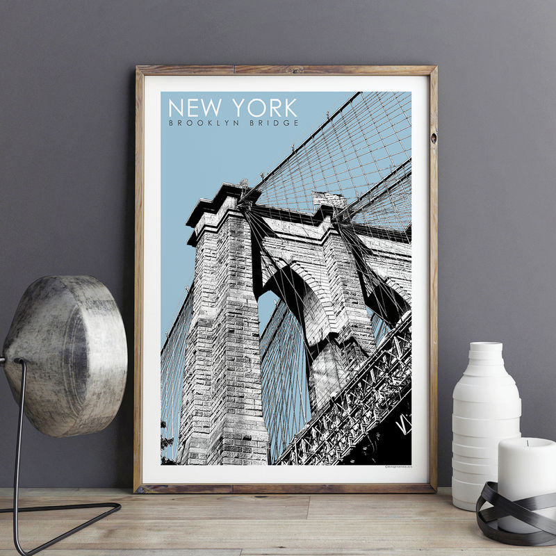 New York Prints - Brooklyn Bridge - Travel Poster - product images  of