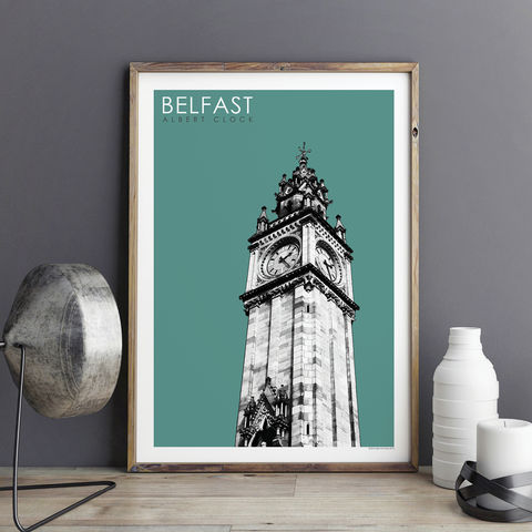 Travel,Prints,-,Belfast,,Albert,Clock,City,city prints, travel prints, belfast prints, travel gift