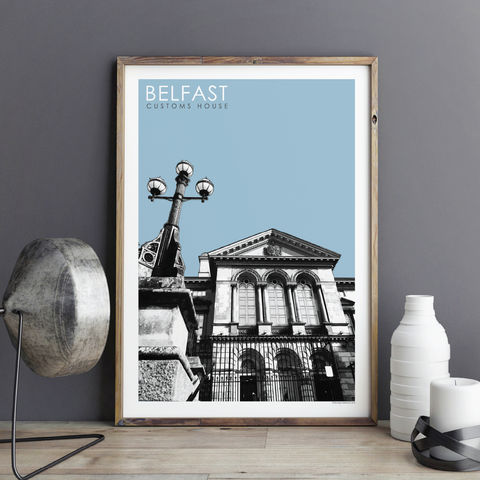 Travel,Prints,-,Customs,House,,Belfast,City,Travel prints, city prints, travel gift, Belfast art prints,