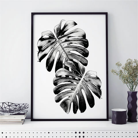 Monochrome,Art,Prints,-,Monstera,Palm,Botanical,Print,monochrome art prints, botanical prints, minimalist art, art prints