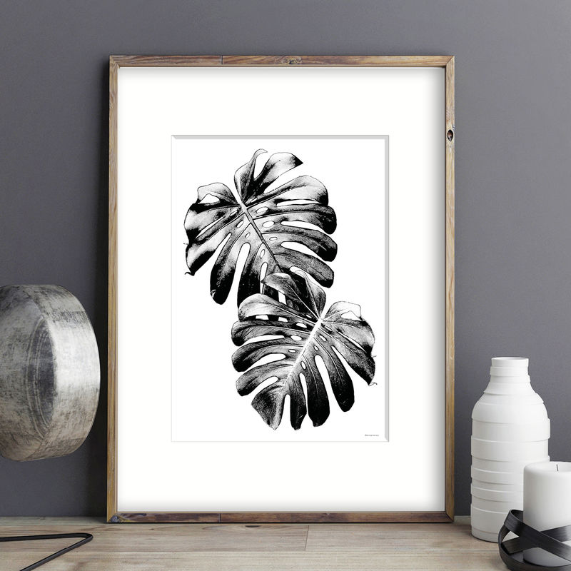 Monochrome Art Prints - Monstera Palm - Botanical Print - product images  of