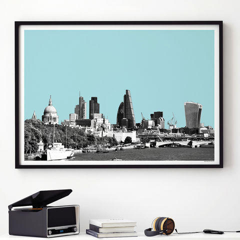 London,City,Skyline,Art,Print,-,View,From,Waterloo,Bridge,london city skyline art print, london print, travel print, city print