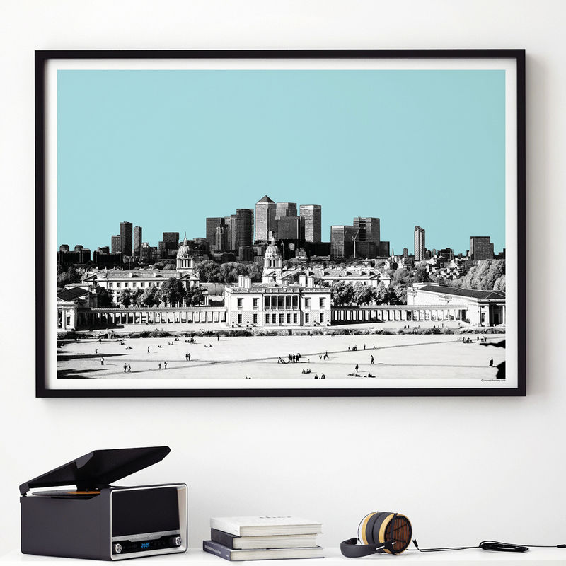 London City Skyline Art Print - View from Greenwich - London Gift - product images  of