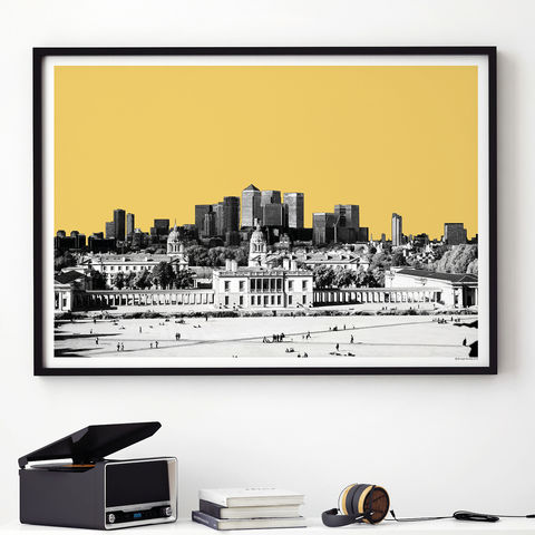 London,City,Skyline,Art,Print,-,View,from,Greenwich,Gift,london city skyline art print, london art print, city print, london gift