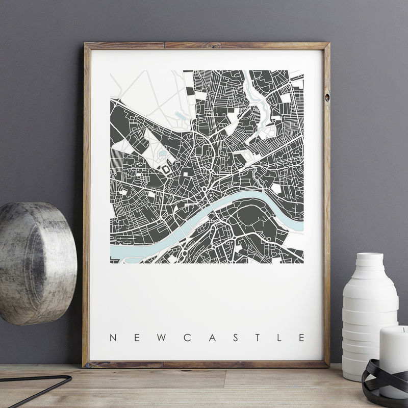 Newcastle Map Art Prints - LIMITED EDITION PRINTS - BRONAGH KENNEDY on