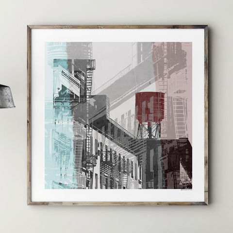 Abstract,Cityscape,Art,Print, ,NYC,No.,1