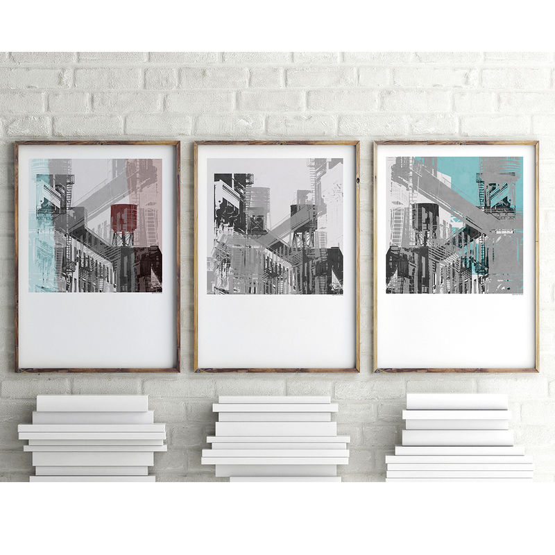 Set of 3 Art Prints - Abstract Wall Art - New York Art - product images  of