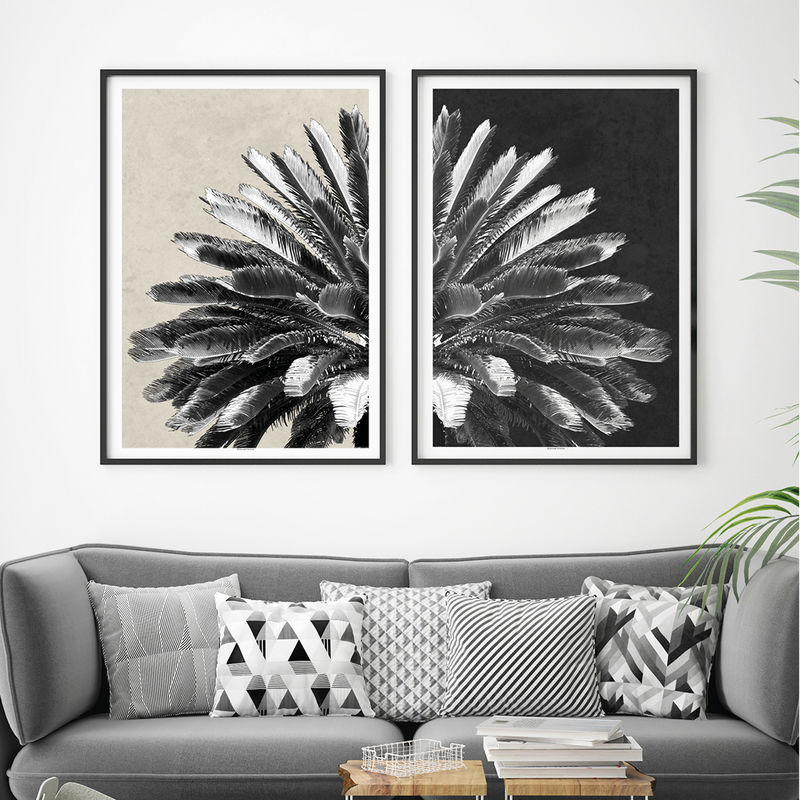 Set of 2 Botanical Art Prints - Palm Tree Prints - Tropical Prints - Minimalist Prints - product images  of