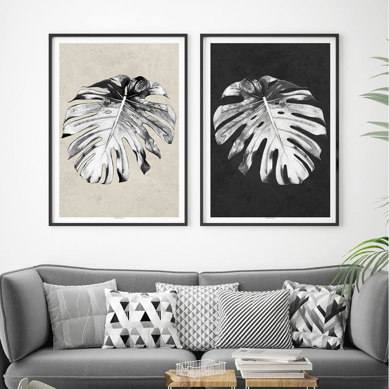 Set of 2 Botanical Prints – Tropical Prints – Monstera Palm Print - Minimalist Prints – Black and White Art – Large Wall Art  - product images  of