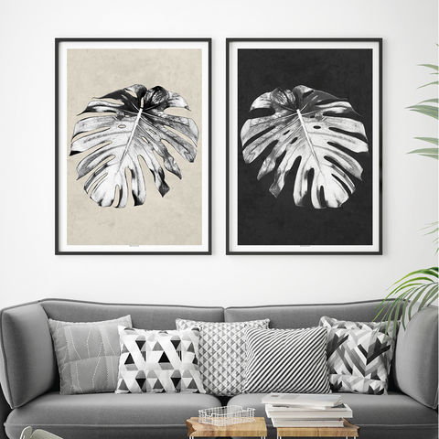 Set,of,2,Botanical,Prints,–,Tropical,Monstera,Palm,Print,-,Minimalist,Black,and,White,Art,Large,Wall,Set of 2 Botanical Prints, Tropical Prints, Monstera Palm Print, Minimalist Prints, Black and White Art Print