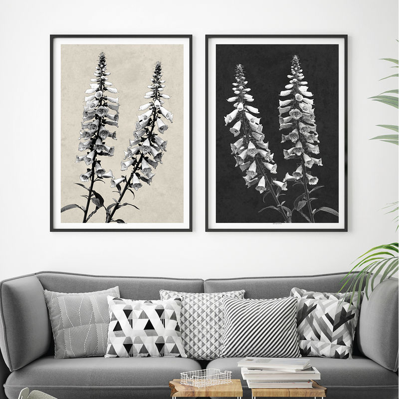 Contemporary Botanical Prints - Set of 2 Floral Art Prints - Minimalist Wall Art - product images  of