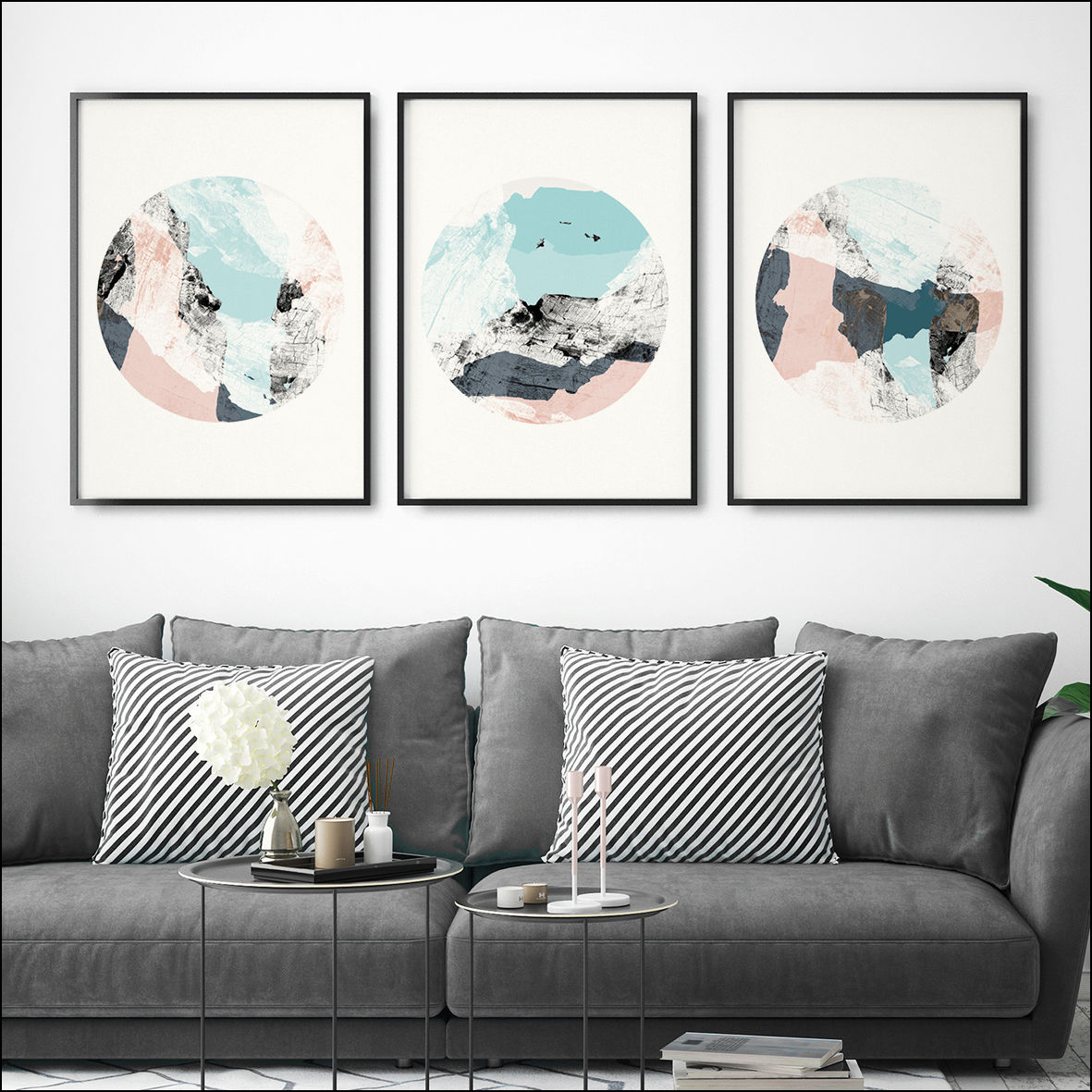 set of 3 prints abstract art prints minimalist prints large wall art prints bronagh. Black Bedroom Furniture Sets. Home Design Ideas