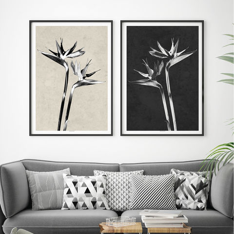 Set,of,2,Botanical,Art,Prints,-,Bird,Paradise,Tropical,Home,Decor,Set of 2 Botanical Art Prints - Bird of Paradise Tropical Prints - Botanical Home Decor