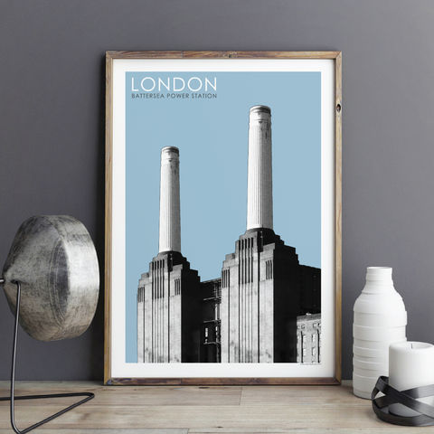 London,Wall,Art,Print,-,Battersea,Power,Station,Travel,Prints,City,Gift,London wall Art Print, Battersea Power Station, Travel Prints, City Prints, London Gift