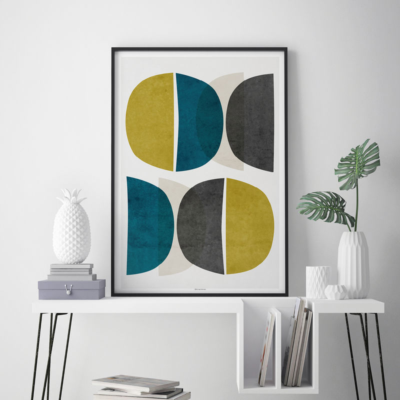 Abstract Wall Art – Modern Art Prints – Minimalist Print – Yellow and Teal Wall Art – Fine Art Prints  - product images  of