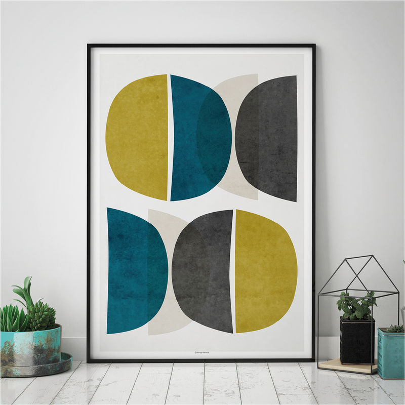 Captivating Abstract Wall Art U2013 Modern Art Prints U2013 Minimalist Print U2013 Yellow And Teal Wall  Art