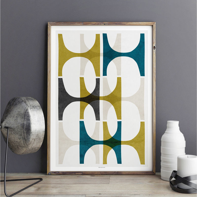 Abstract Art Prints - Modern Wall Art – Teal and Yellow Wall Art - Minimalist Print – Living Room Prints - product images  of