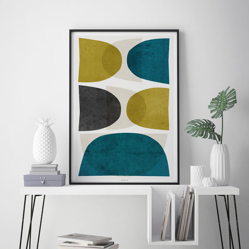 Minimalist Wall Art - Abstract Art Prints – Fine Art Prints - Teal and Gold Wall Art – Large Art Print - product images  of