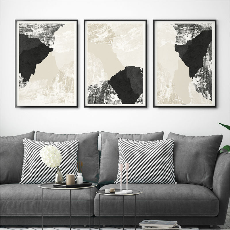 Set of 3 Prints – Abstract Art Print Set – Minimalist Fine Art Print - Triptych - Large Wall Art Prints - product images  of