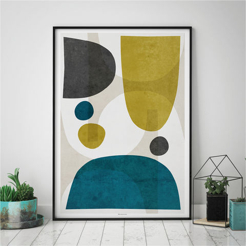 Minimalist,Abstract,Living,Room,Wall,Art,Print,–,Yellow,and,Teal, Minimalist, Abstract Art Print, Living Room Wall Art, Yellow and Teal Wall Art