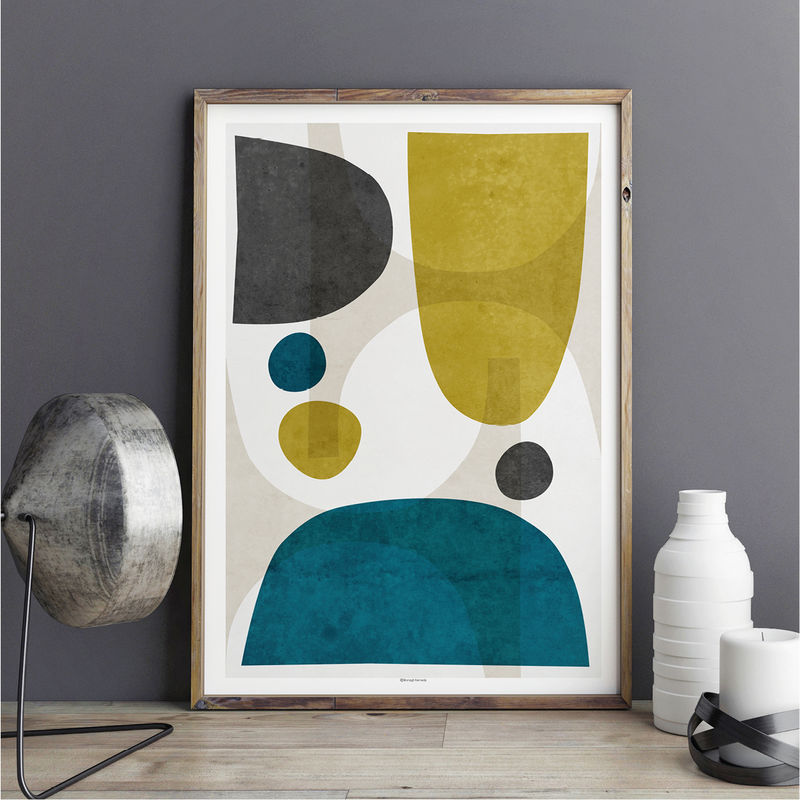 Minimalist Abstract Living Room Wall Art Print – Yellow and Teal Wall Art – Minimalist Print - product images  of