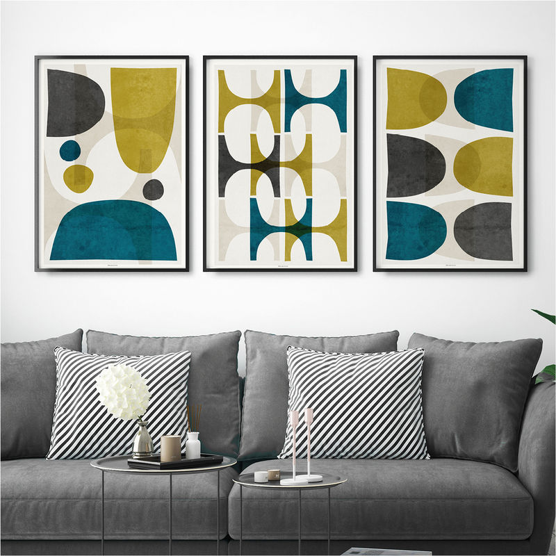 Set of 3 Prints – Abstract Wall Art Print Set – Living Room Print – large Wall Art Print - product images  of
