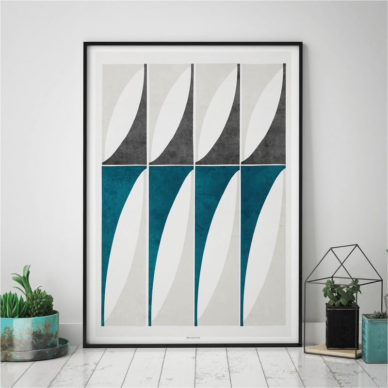 Abstract Geometric Art Prints – Large Blue Wall Art – Living Room Art Prints – Minimalist Prints - product images  of