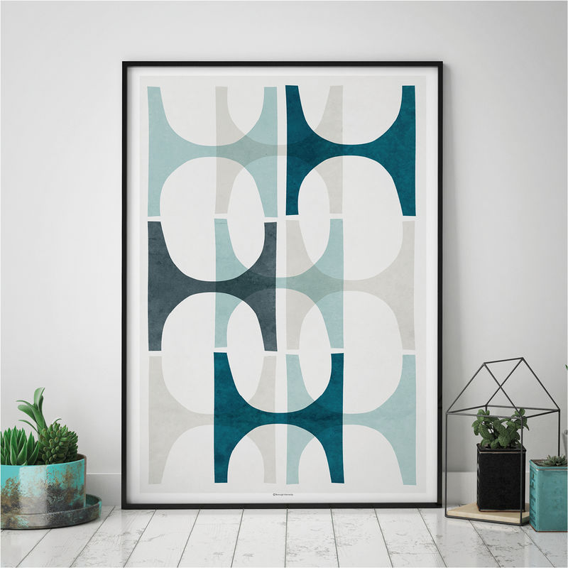 Abstract Wall Art – Blue Abstract Geometric Art Print – Large Art Print  - product images  of