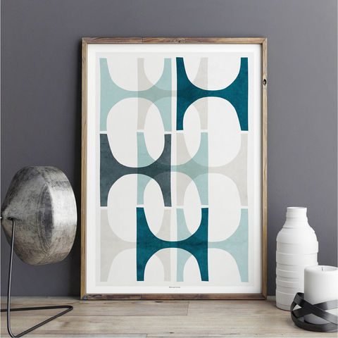 Abstract,Wall,Art,–,Blue,Geometric,Print,Large,Abstract Wall Art – Blue Abstract Geometric Art Print – Large Art Print