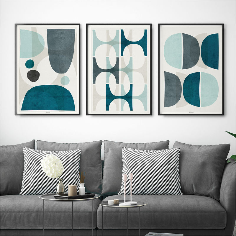Set of Three Prints - Blue Abstract Wall Art Prints – Large Fine Art Prints - product images  of