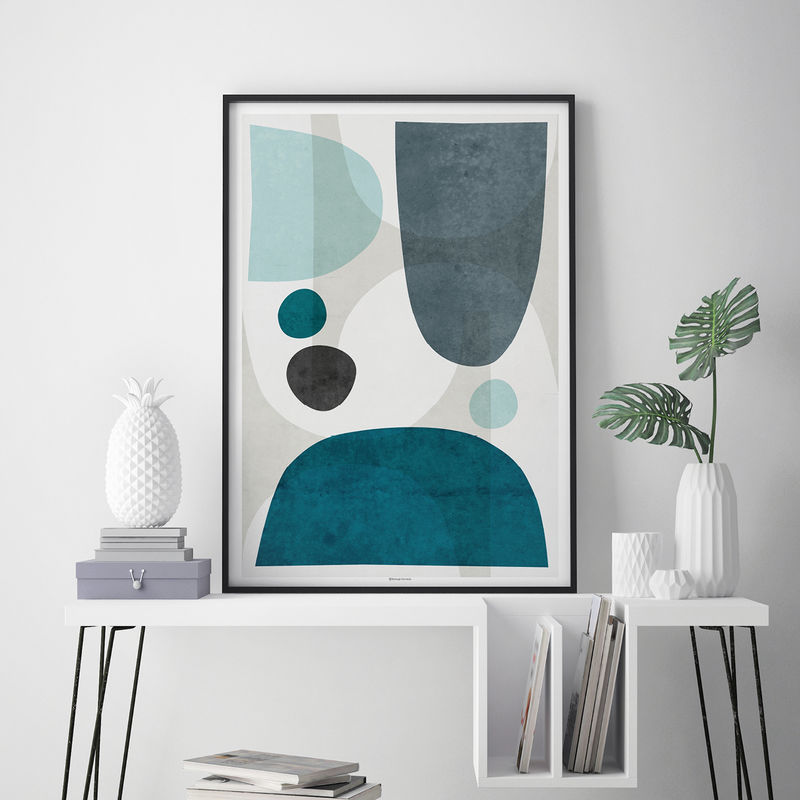 Blue Abstract Wall Art - Living Room Art Blue – Large Abstract Wall Print - product images  of