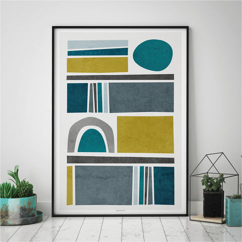 Teal,Abstract,Wall,Art,Print,-,Living,Room,Decor,teal abstract wall art print, living room art decor