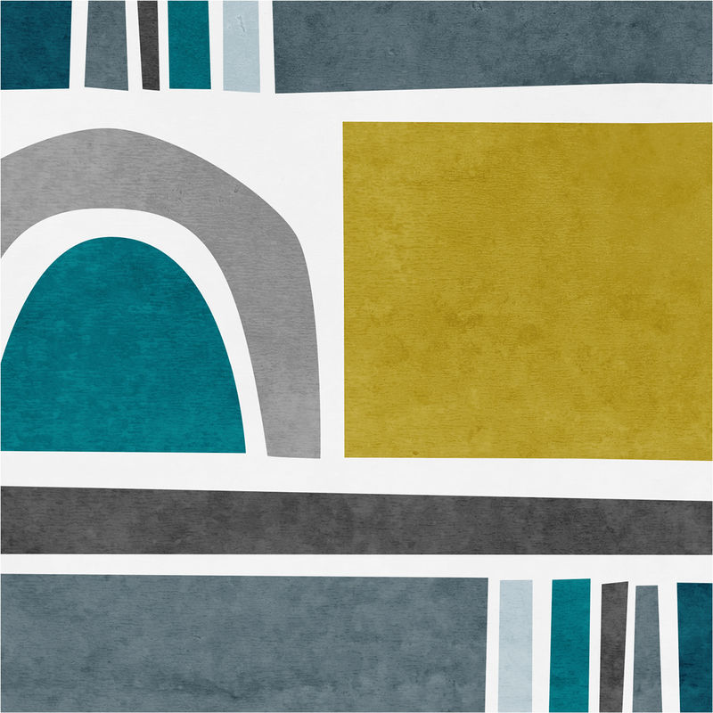 Teal Abstract Wall Art Print - Living Room Art Decor - product images  of