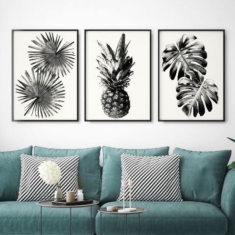 Set,of,3,Botanical,Art,Prints,-,Black,and,White,Wall,Set of 3 Botanical Art Prints - Large Wall Art - Black and White Wall Art
