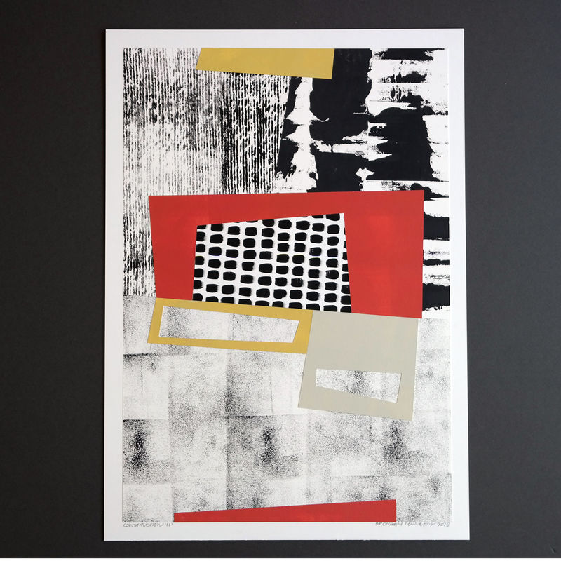 Original Mixed Media Painting - Contemporary Collage Art Work - Black and White Abstract Art - product images  of