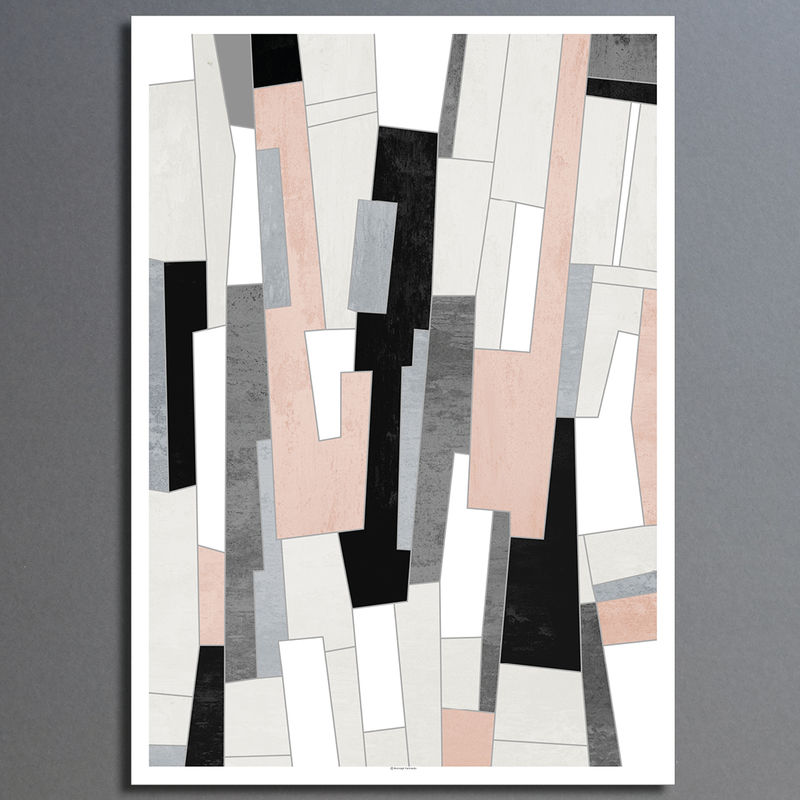 Abstract Art Print - Pink and Grey Living Room Wall Art - Fine Art Print - product images  of