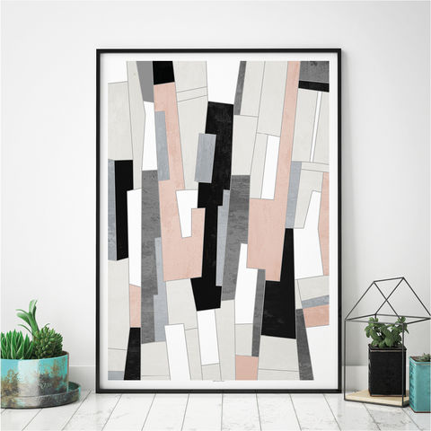 Abstract,Art,Print,-,Pink,and,Grey,Living,Room,Wall,Fine,Abstract Art Print - Pink and Grey Living Room Wall Art - Fine Art Print