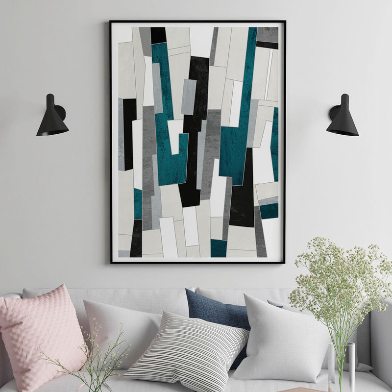 Teal Abstract Living Room Wall Art Prints  - product images  of