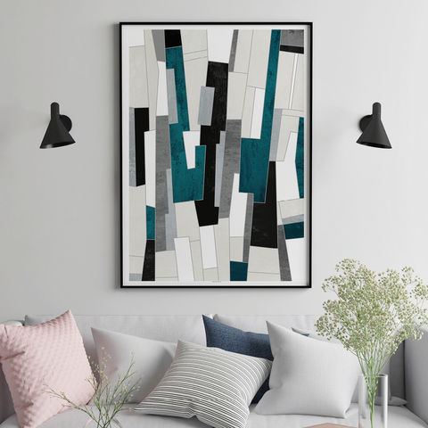 Large,Abstract,Wall,Art,-,Teal,and,Grey,Living,Room,Prints,Fine,Large Abstract Wall Art - Teal and Grey Living Room Art Prints - Fine Art Prints